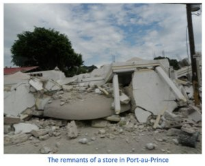 The remnants of a store in Port-au-Prince